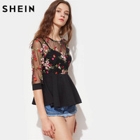 SheIn Sexy Blouses For Women Black Three Quarter Length Sleeve Flower Embroidered Mesh Overlay 2 In