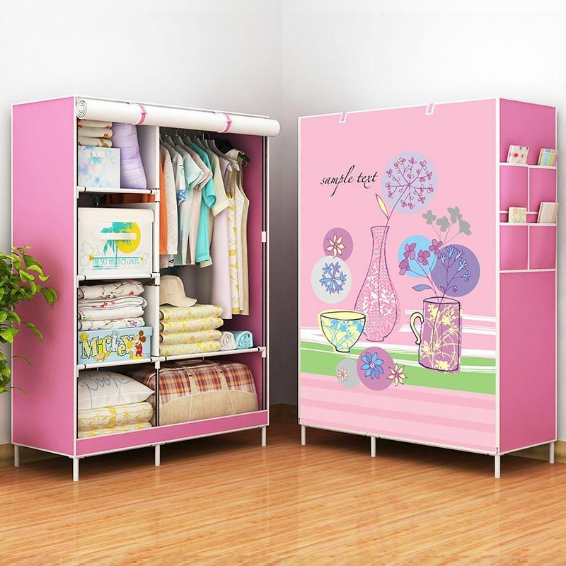 Portable Closet Dress Rack Folding Non-woven Storage Wardrobe Cabinet Multifunction Dustproof Moistureproof Bedroom Furniture