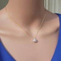 925 de plata real natural grande Con el certificado de identificación ligh Akoya agua de mar de perlas Colgante de Collar de Cadena femenina