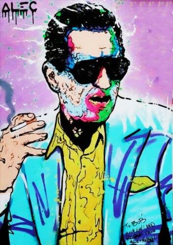 100% peinture à l'huile à la main Alec monopole peinture à l'huile sur toile graffiti art Gangster life 24x36