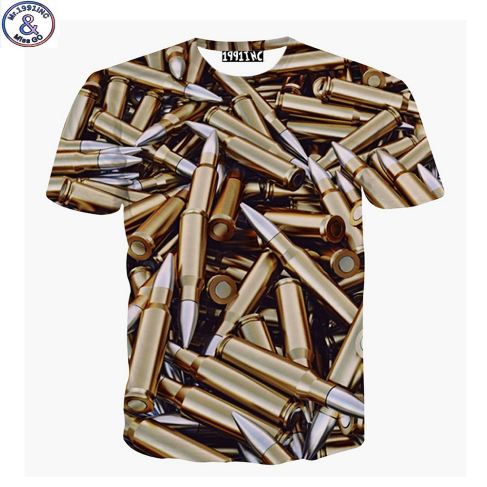 Mr 199very cool Europe and America style 3D Bullets Printed big kids t shirt for teens