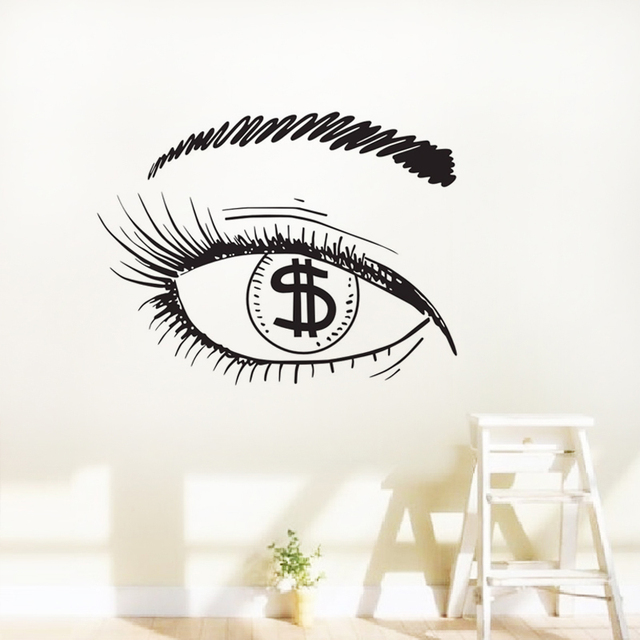 dollar in the eye wall stickers girl eyelashes makeup window sticker