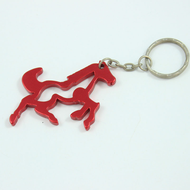 Wholesale 72Pcs Aluminum Alloy Horse Metal Bottle Opener with Key chain Promotional Gift Free shipping