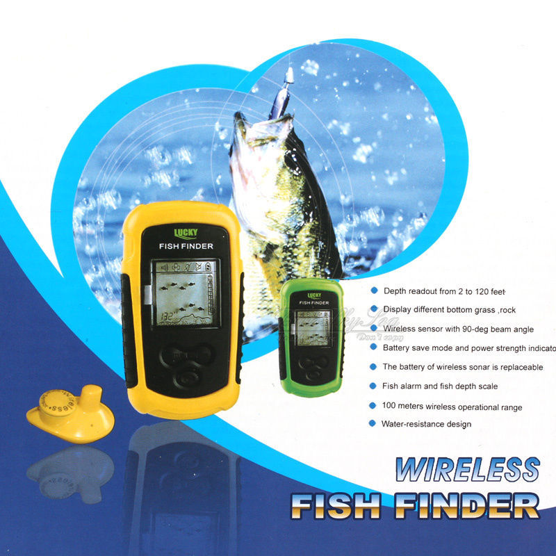 Chanceux FFW1108-1 Portable 100 m Détecteur de Poissons Sans Fil Alarme 40 m/130FT Sonar Profondeur Océan Rivière Sondeur pour pêche