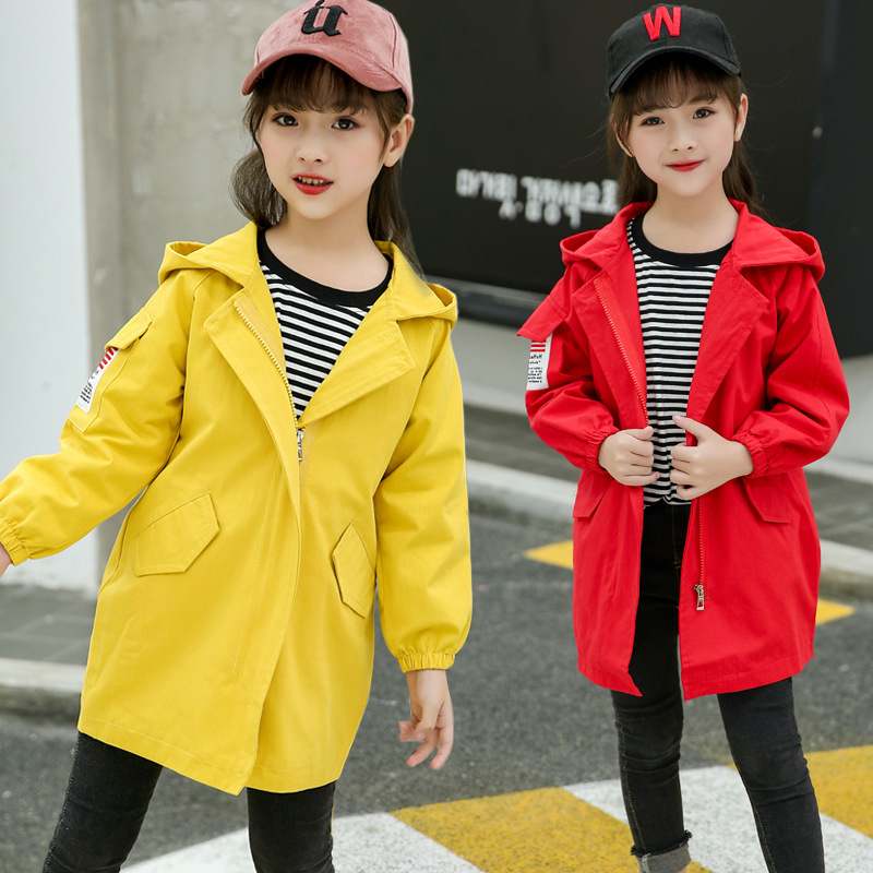 Girl Jackets Yellow Red Top Hooded Long Sleeve Outwear Autumn Winter Teenage Kids Clothes Sports Kids Coats Toddler Top 6 8 9 10 cropped wide sleeve top