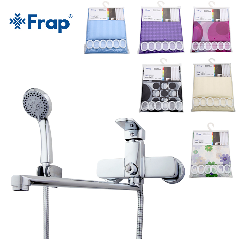 Frap One Set Brass body 35cm Length Nose Bathroom Shower Faucet With ABS Shower Head Shower Curtain F2273YL african woman with purple afro hair shower curtain polyester fabric printing bathroom curtain waterproof home product
