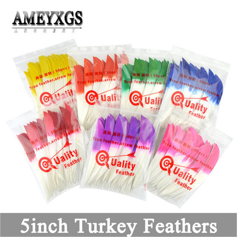 60pcs 5inch Arrow Fletch Feathers Natural Turkey Feather Right Wing Vanes Outdoor Sports Hunting Shooting Archery Accessories in Darts from Sports Entertainment