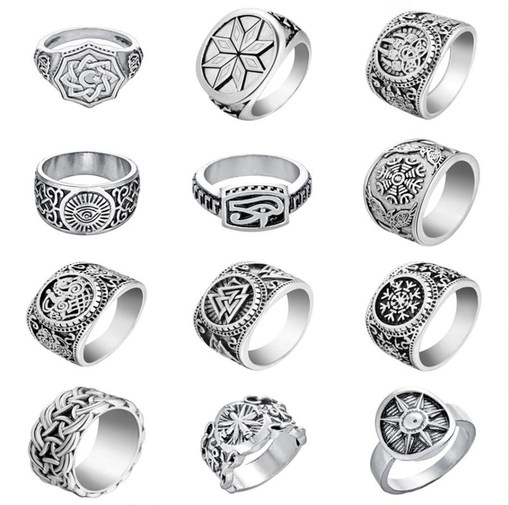 QIAMNI Handmade Vintage Hiphop Nordic Slavic Pagan Amulet Finger Ring Accessories Party Jewelry for Women Men Gift Bague Anel