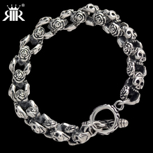 RIR 316L Stainless Steel 10mm Huge Heavy Solid Silver Mens Skeleton Skull bracelet Ghost bangle Biker Rock Punk Jewelry LB1014
