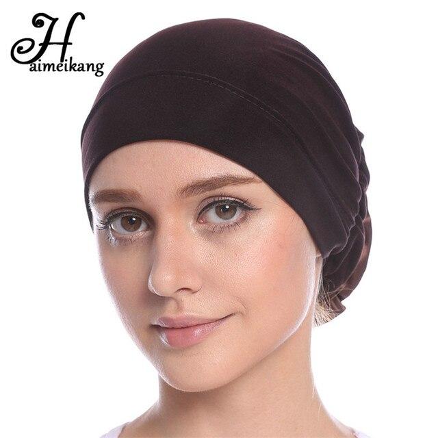 02ad7cac6183 Haimeikang Coton Femmes Musulman Extensible Turban Bandeau Femmes Fleur  Cheveux Bandes Chimio Cap Head Wrap Chapeau