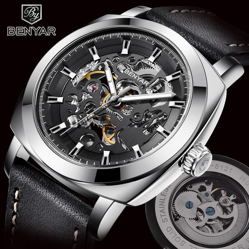 BENYAR 2018 nouvelle marque montres pour hommes montre mécanique automatique horloge Sport en cuir décontracté montre-bracelet d'affaires Relogio Masculino