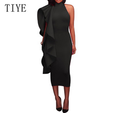 TIYE Elegant Unilateral with Big Ruffles Bodycon Bandage Dress Sexy Sleeveless Hollow Out Retro Party Dress Femme Plus Size XXL 8pack 16pcs collagen crystal eye mask moisturizing anti wrinkle mask eye patches pads dark circles anti aging face mask care