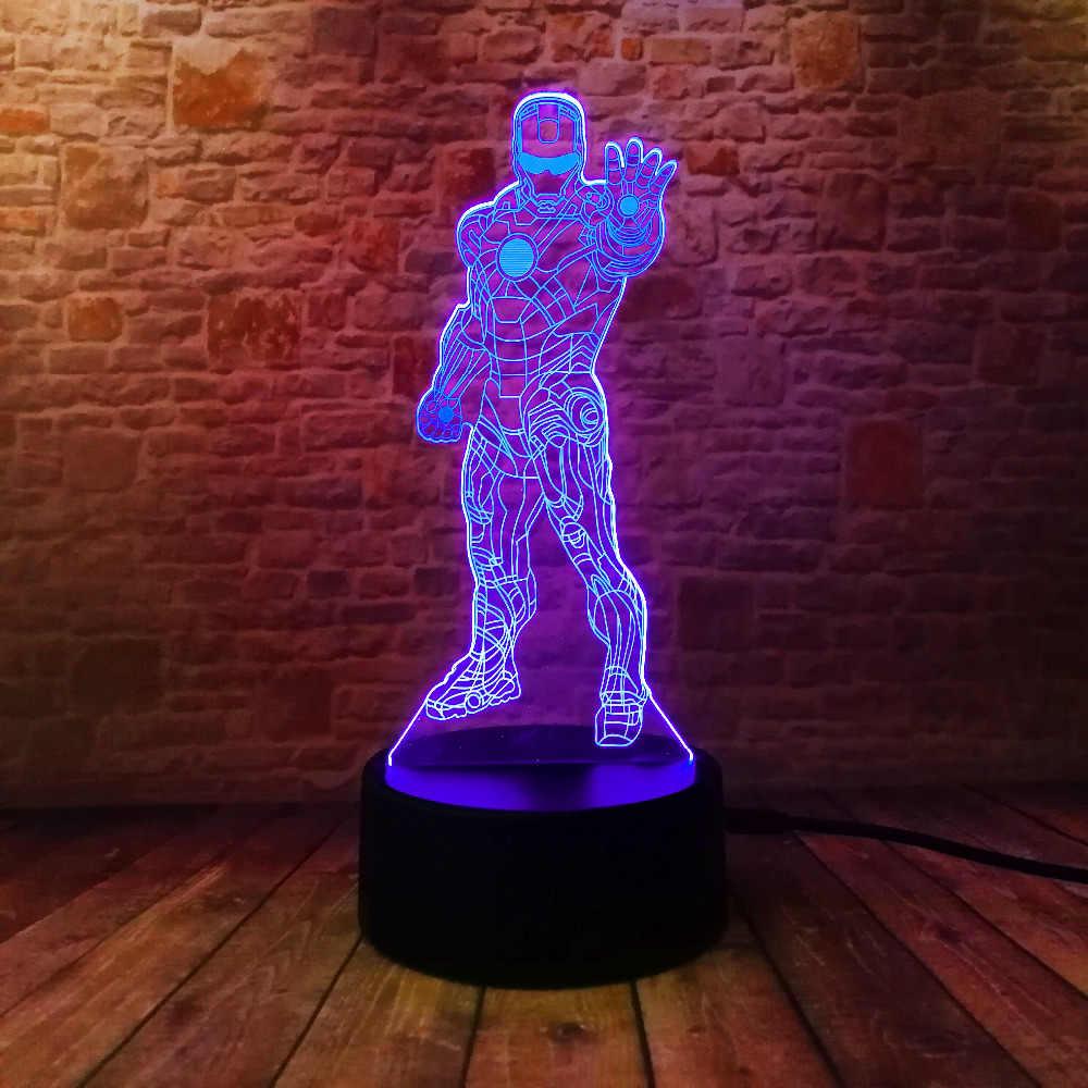 Coleção de filmes Da Marvel Legends Homem Iorn 3D Optical Illusion Noite Dormindo Luz Multi Cores Alimentado Por USB Decoração Da Lâmpada Presente