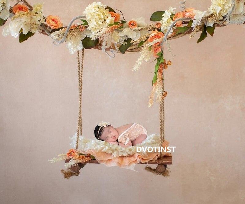 Dvotinst Newborn Baby Photography Props Wooden Hanging Basket Swing Fotografia Accessories Infant Studio Shooting Photo Prop dvotinst newborn baby photography props basket filler posing blanket fotografia accessories photo props props studio shooting