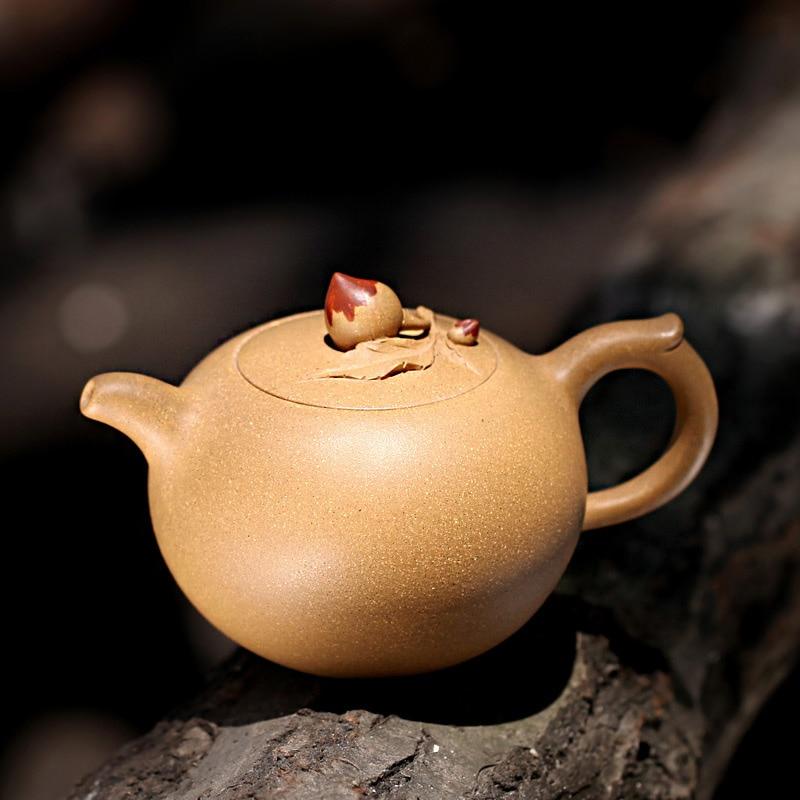 310ML Yixing Purple Clay Teapot Famous Handmade Duan Mud Raw Ore Shoutao Pu'er Pot 188 Hole Filter Biluochun Tea Zisha Kettles