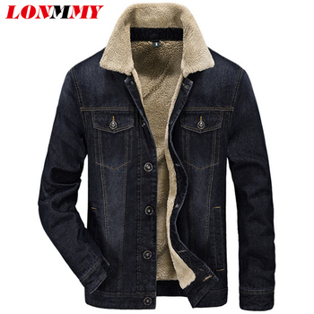 LONMMY M-4XL Cowboy jeans jacket men Cotton Plus velvet liner Thicker Fashion Casual denim jacket men military style 2018 Winter