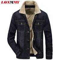 LONMMY M 4XL Cowboy Jeans Jacket Men Cotton Plus Velvet Liner Thicker Fashion Casual Denim Jacket