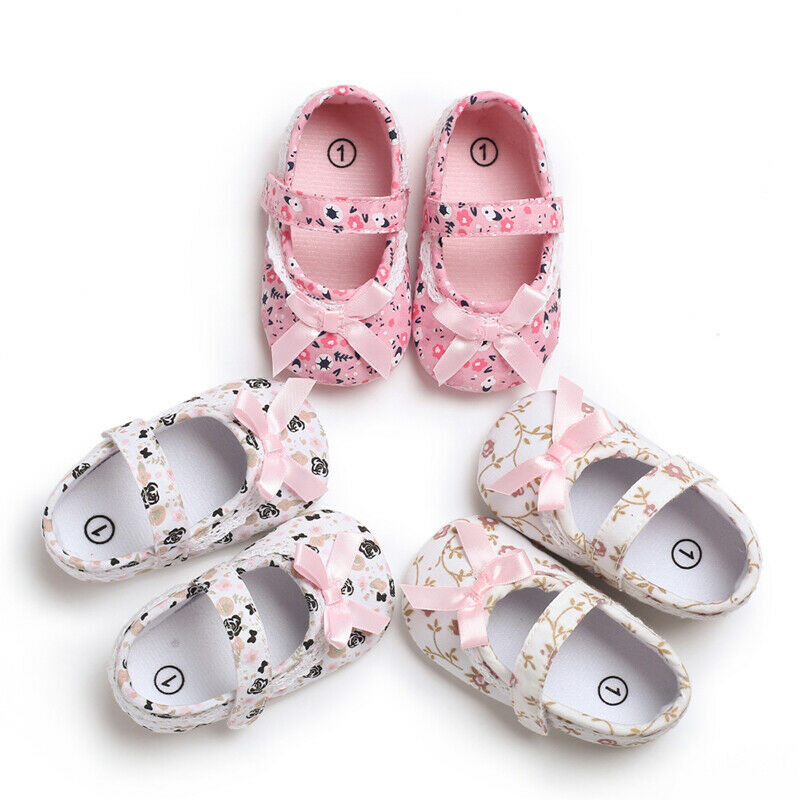 Toddler Kids Crib Shoes Newborn Baby Bowknot Soft Sole Prewalker Sneakers Lot