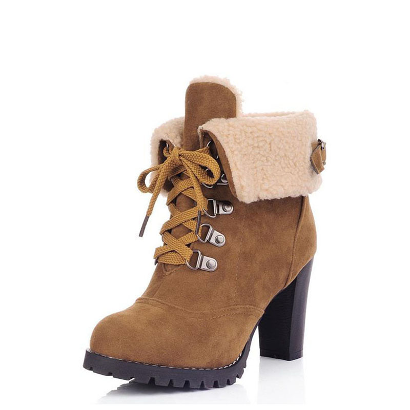 High heel riding boots 2017 fashion women ankle boots shoes warm woman winter boots