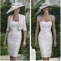 Trajes pantalón elegantes rebordear la madre de la boda Formal longitud de la rodilla Vintage Short encaje lf2739 madre de la novia viste con la chaqueta