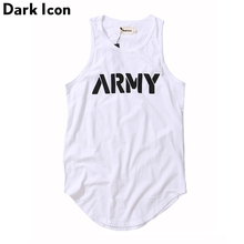 DARK ICON Letter Printed Curved Hem Hip Hop Tank Top Men Summer Extended Long Line Tank Top Black White rolled cuff curved hem top
