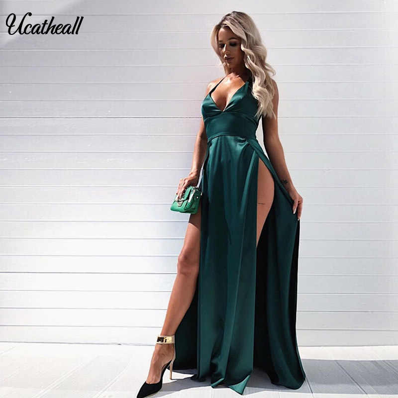 5d04c6aed8f32 Sexy Maxi Satin Dress Beauty Deep V-Neck Strapy Sleeveless Dress Sexy  Smooth Two Split