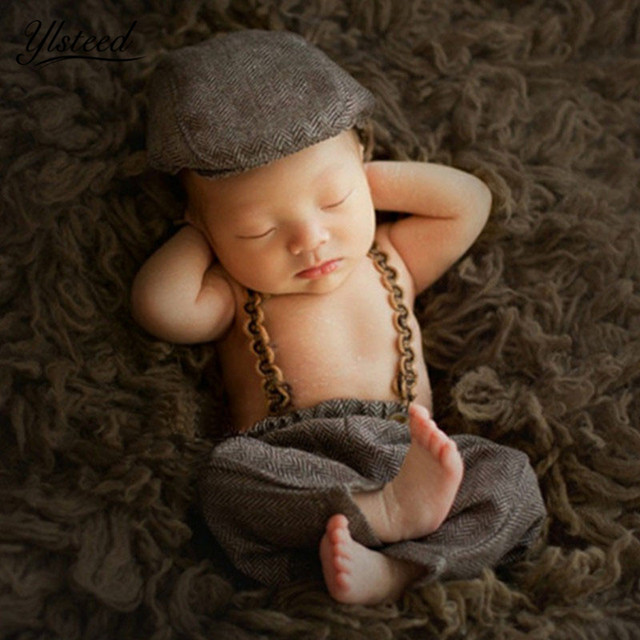 ff8b814bfa47 2018 3pcs/Set Newborn Photography Baby Photo Props Baby Boy Suspender Pants  Gentleman Hat Cowboy Hat Infant Photoshoot Outfits