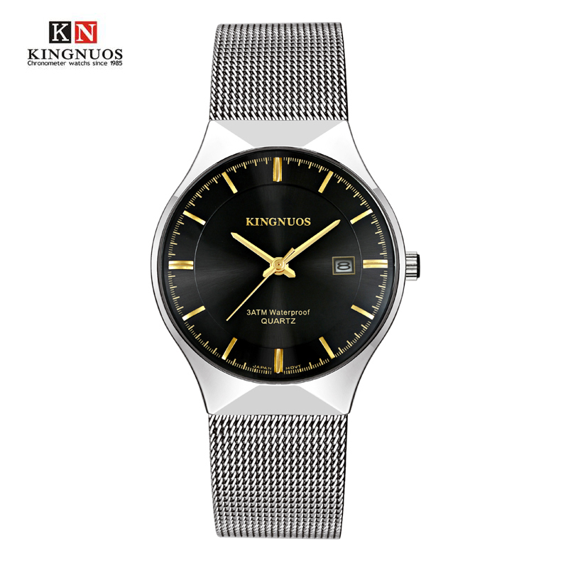 Hodinky KINGNUOS Men Watch Ultra Thin Male Gold Band Mesh Belt Stainless Steel Calendar Male Military Watch Relogio Masculino