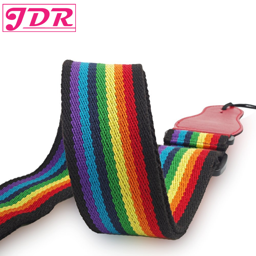 JDR Rainbow Guitar Strap Cotton Adjustable Strap for Electric & Acoustic Guitar Bass with Leather Ends and A Pick Holder amumu cotton guitar strap for acoustic electric guitar and bass solid color guitar belt adjustable 66 126 cm length s309