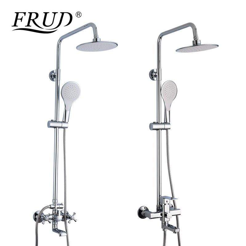 FRUD Shower Faucets white bathroom shower mixer with hand shower head set chrome bathtub faucet bath
