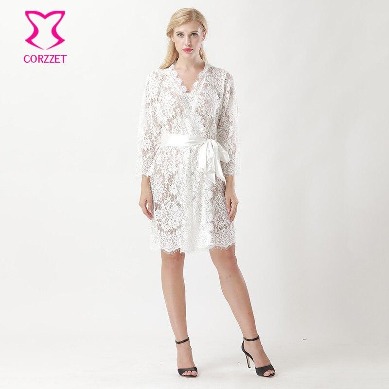 все цены на White Hollow Out Floral Lace Long Sleeve Knee Length Wedding Nightgown Sleepwear Robe Bridal Lingerie Sexy Hot Erotic Underwear