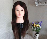 60cm light brown 100% natural human Hair head mold trim doll head mannequin head practice head with hair