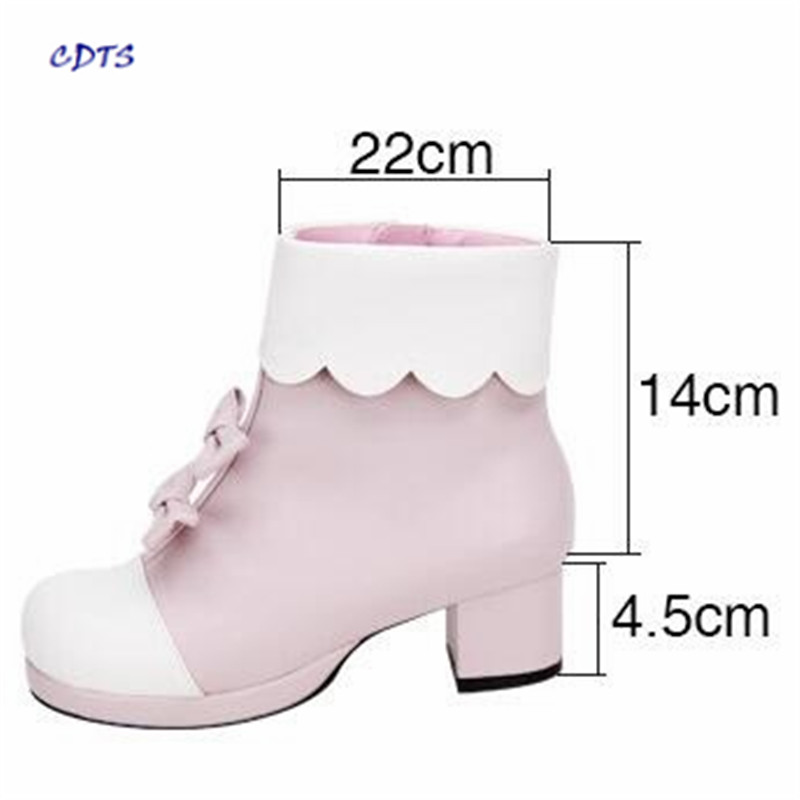 CDTS Plus:42 43 44 Laciness Cute sweet bow Med thick High heel princess Ankle Martin boots Cosplay Lolita shoes woman pumps eur 34 44 angelic imprint zapatos mujer lolita cosplay punk pumps high boots princess sweet girl s pumps black women s shoes