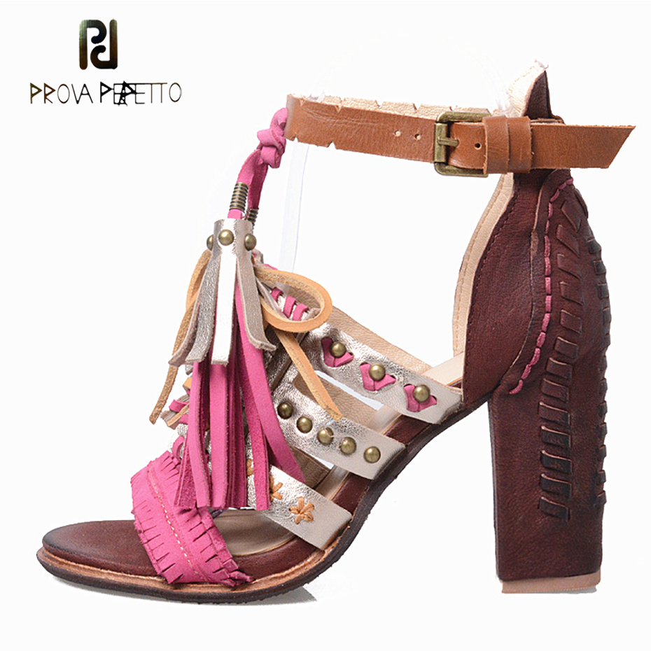 Prova Perfetto Euramerican Sheepskin Genuine Leather Open Toe High Heel Shoes Ankle Buckle Strap Chunky Heel Sandals prova perfetto british style elegant sheep genuine leather ankle buckle hollow out flower boots back strap chunky high heel boot