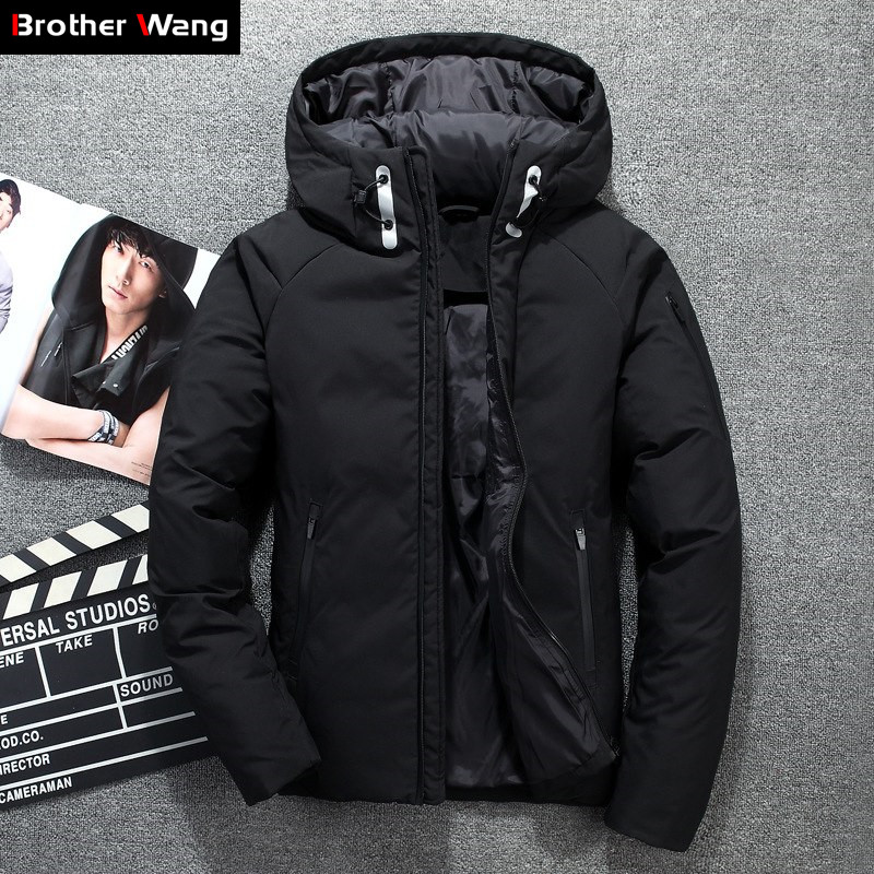 Winter New Men's White Duck Down Jacket Fashion Casual Windproof Cold Resistant Thick Hooded Coat Male Brand Clothes