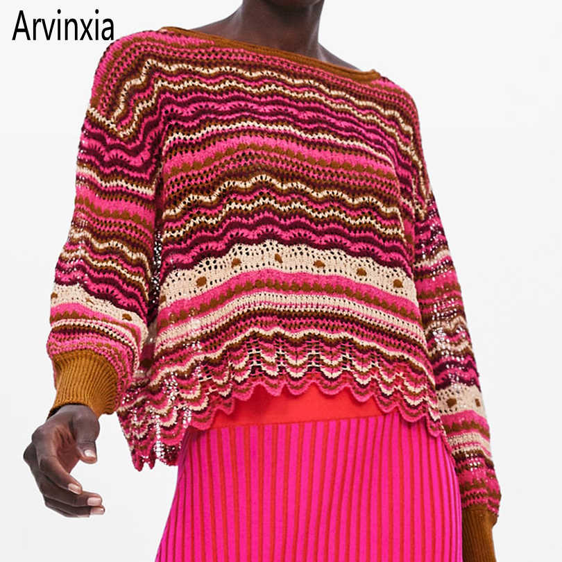 Arvinxia ZA Fashion Wave Striped Long Sleeves Woman Sweaters New Big Hollow Out Lady Pullovers Sexy Ruffles Pink Knitted Sweater