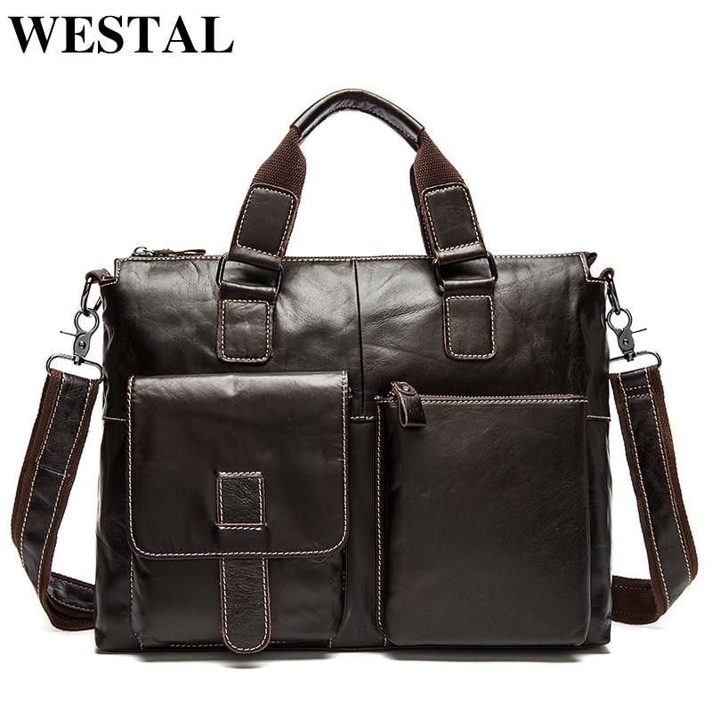 WESTAL Messenger Bag Men Leather Laptop Totes Business Briefcases Bag  Genuine Leather Crossbody Bags for Men 5ddb482f9cfe9