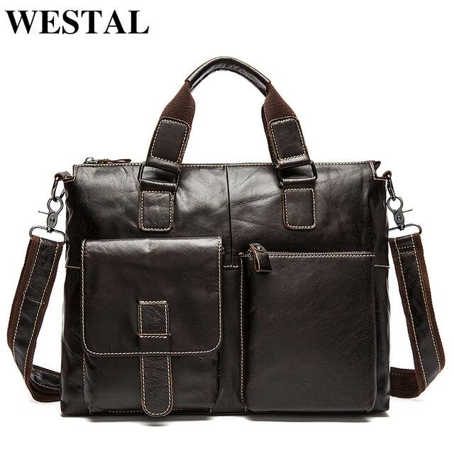 51897c8079720 En iyi fiyat WESTAL erkek çanta Hakiki Deri omuz çantası erkekler ...