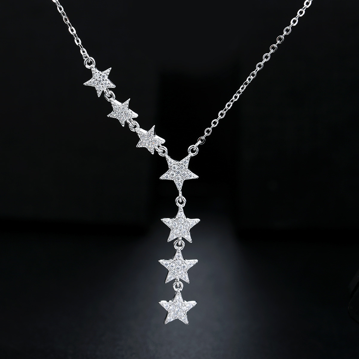 Dropship 2019 New Fashion Simple Star String S925 Sterling Silver Clavicle Chain Ladies Necklace AAA Zircon Pendant Jewelry