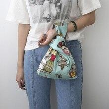 SWDF модная простая сумка на запястье с узелком маленькая сумка для ключей для мобильного телефона квадратная сумка ручной работы в сеточку с волнистым цветком женские сумки и сумочки