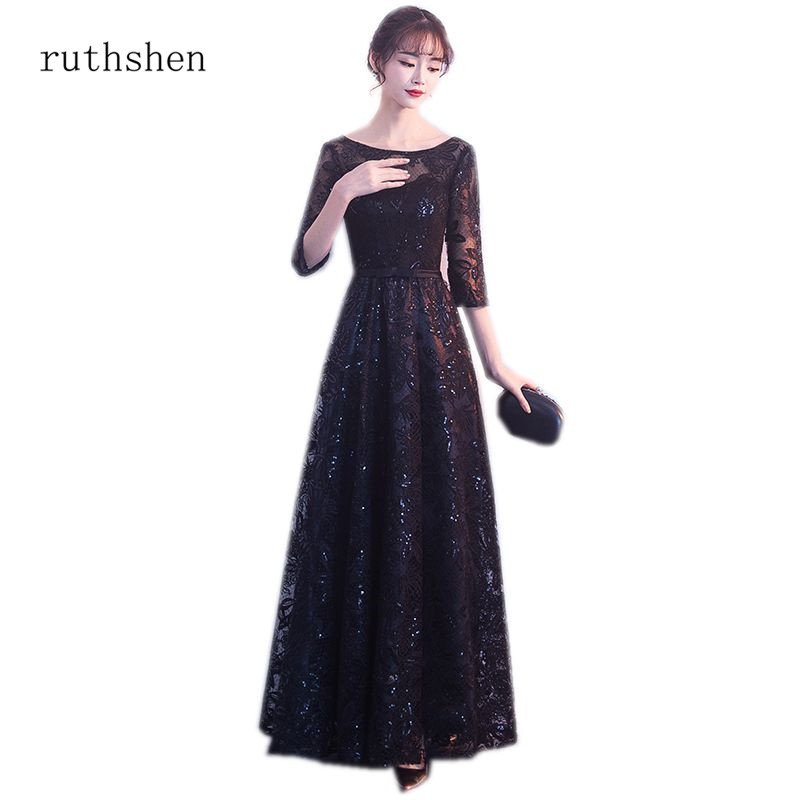 ruthshen 2018 Cheap Lace Prom Dresses Half Sleeves Black Party Gowns Illusion Vestido De Formatura In Stock Long Prom Dresses