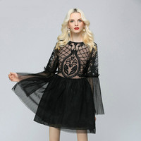 2019 Spring Embroidery Perspective Sexy party Ball Gown Dress Women Flare Sleeve Black white Casual Dress Elegant Solid Vestidos