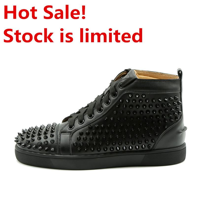 Hommes Spike Stud en cuir chaussures décontractées rivets sneaker à lacets plat haut hommes décontracté en plein air hommes chaussures Zapatillas Hombre - 3