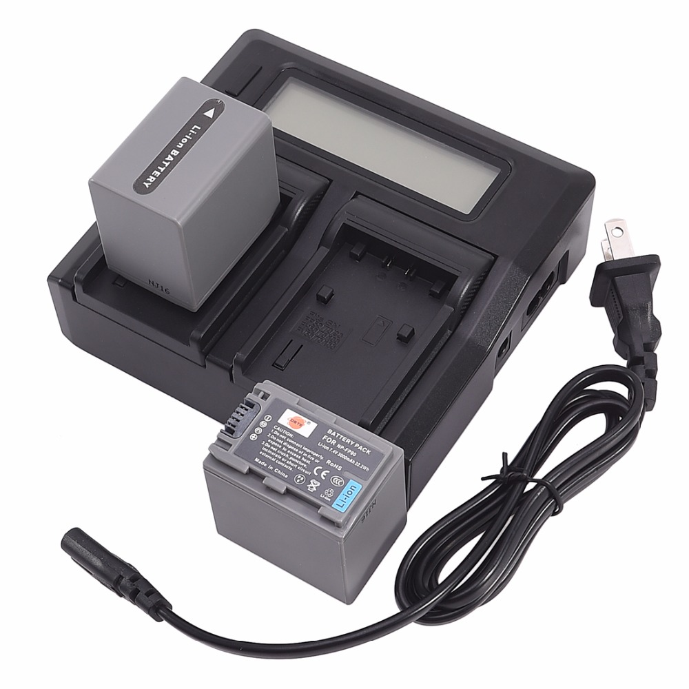 DSTE 1.5A Dual Charger with 2x Li-ion NP-FP90 Batteries for Sony DCR-HC3 HC16 HC17 HC18 HC19E HC20 Camera