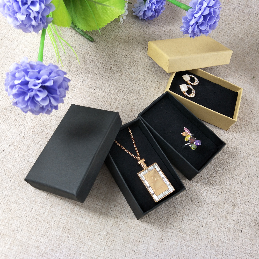 2017 New 24 Pcs/lot Kraft  Necklace Jewelry Box 8.2x5CMBlack Gift Boxes Jewelery Accessories Packaging Custom LogoCost  More