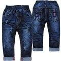 3999 PANTALONES VAQUEROS DEL BEBÉ niñas niños pantalones del bebé pantalones de mezclilla azul marino unisex navy azul de primavera otoño suave baby & kids fashion nuevo 2017