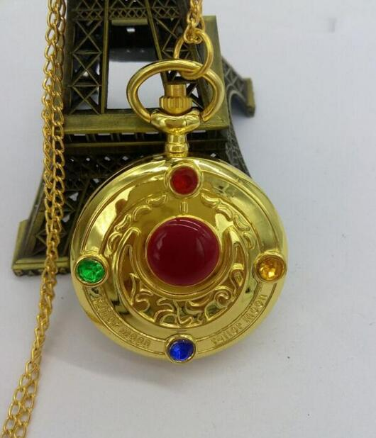 2019 New Anime Sailor Moon Vintage Golden Moon Prism Pendant Pocket Watch Necklace Chain Free Shipping PL362