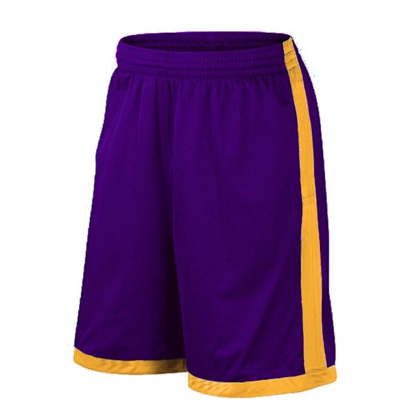 Баскетбольные шорты размера плюс, мужские спортивные шорты, мужские быстросохнущие баскетбольные шорты с карманами, баскетбольная майка высокого качества - Цвет: Purple Yellow