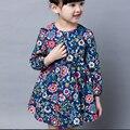Moda Bebê Vestido de Manga Comprida Pirncess Roupas Das Meninas Primavera Outono Crianças Vestidos de Inverno Para A Menina Roupas Floral Vestidos