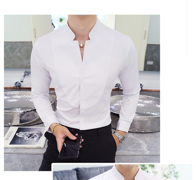 Fall Winter Stand Collar Mens Long-sleeved Dress Shirts Black Red White Slim Elegant Youth Male Business Wedding Formal Shirt 16